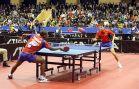 18-21 октября 2007 года, Санкт-Петербург. ITTF pro tour EUROSIB Открытый чемпионат России по настольному теннису. №352 Salifou Abdel-Kader, Франция (слева) и №27 Алексей Смирнов, Россия.