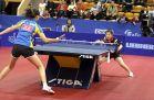 18-21 октября 2007 года, Санкт-Петербург. ITTF pro tour EUROSIB Открытый чемпионат России по настольному теннису. №12 Fukuhara Ai, Япония (справа в атаке) и №32 Peng Luyang, Китай.