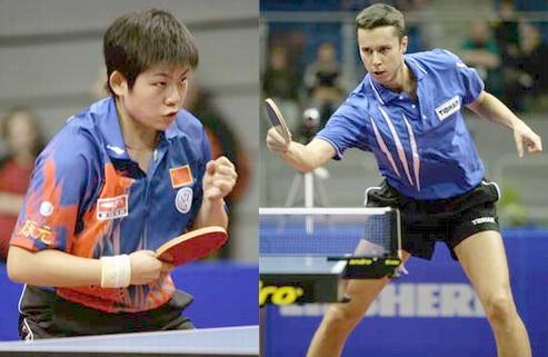 13 ноября 2005 года. Чемпионы ITTF pro tour в Германии: слева - Cao Zhen из Китая, справа - Владимир Самсонов из Белоруссии.